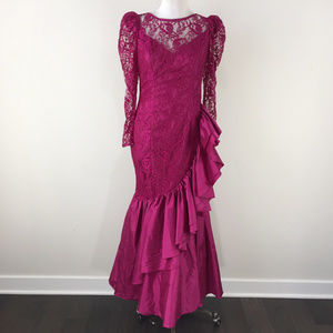Vintage 90's Fuchsia Pink Lace Mermaid Gown Formal
